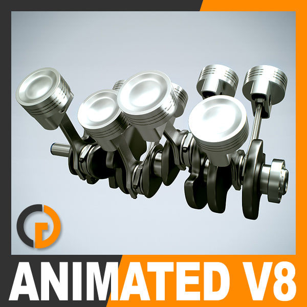 animation v8 engine cylinders obj