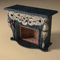 fireplace details materials 3d model