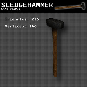 free 3ds model hammer weapon
