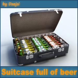 obj suitcase beer bottles