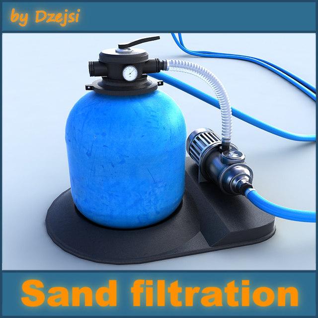 3d pool sand filtration model