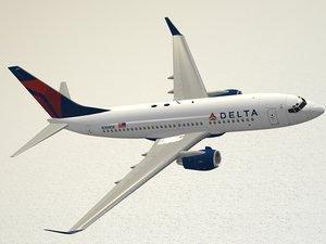 3d boeing 737-700 delta air lines