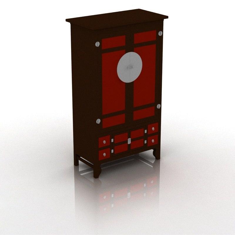 asian style cupboard 3d model