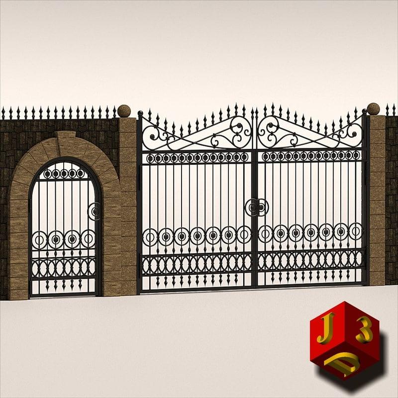 antique gate - 3d 3ds