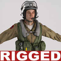 Military Pilot V2 Rigged