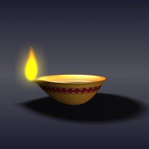 3d diwali oil lamp