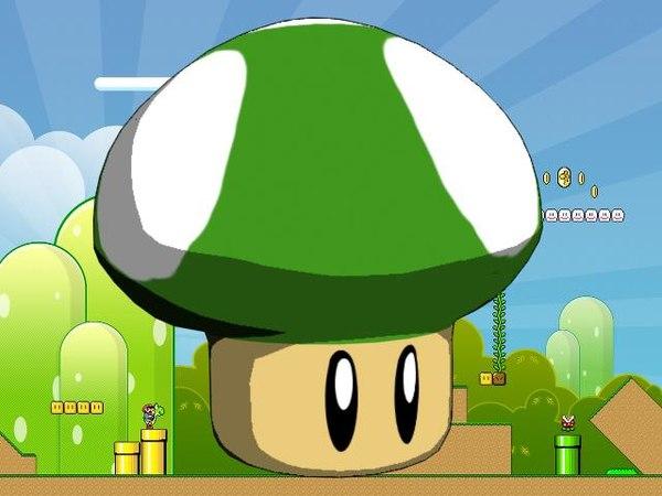 3d model super mario 1up mushroom