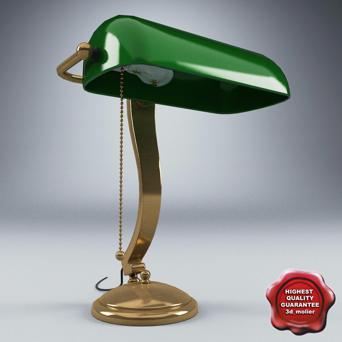 3d table lamp green model