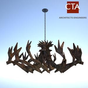 3ds max antler chandelier