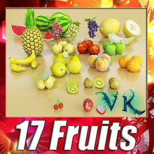 3d model of 17 fruits apple