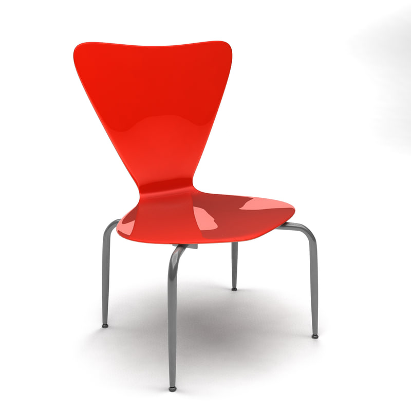 3d model red chair