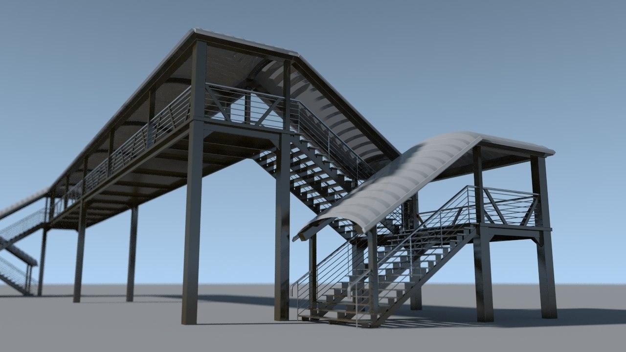 3d model of urban overhead pedestrian bridge