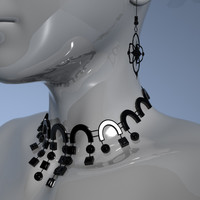 female necklace earrings 3d model