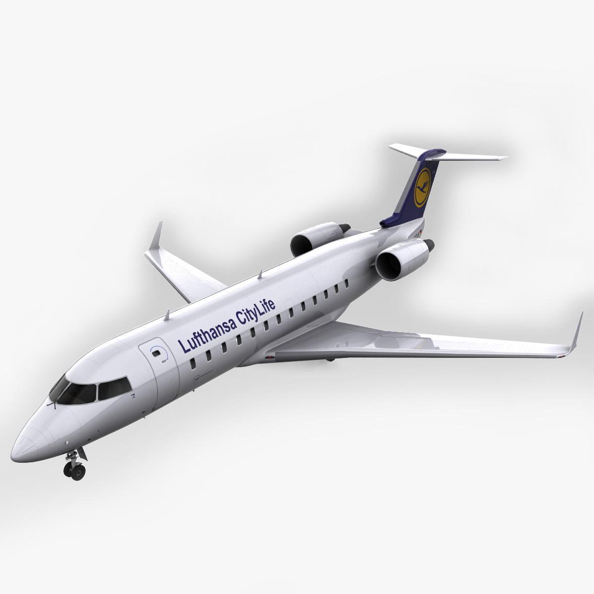 realistic bombardier crj 100 3d model