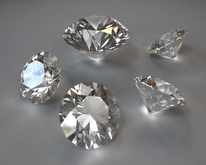 3d ideal cut diamond model