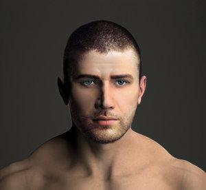 3d man muscular nude realistic male model