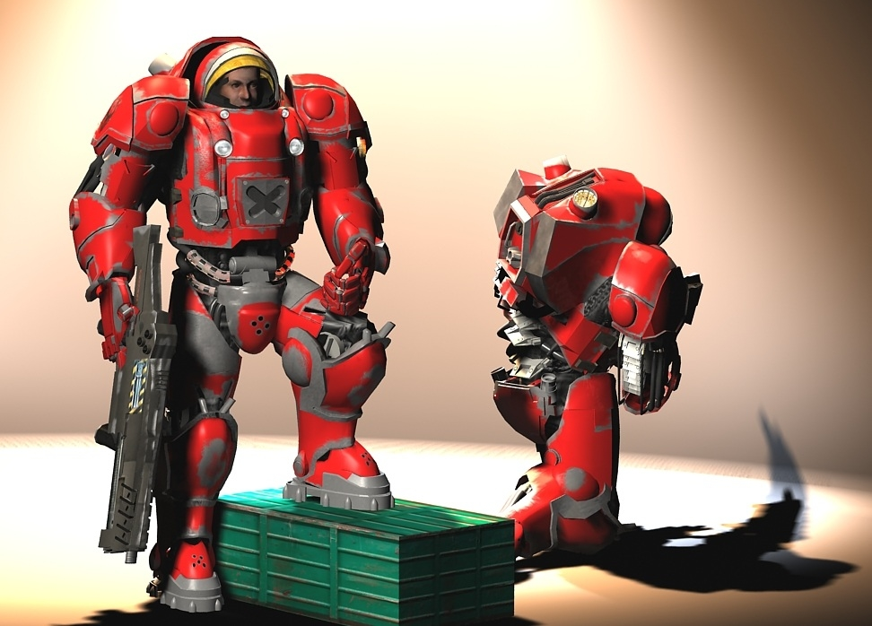 terran starcraft rigged human 3d model