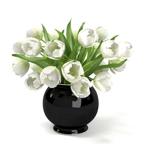 3ds white tulips bouquet