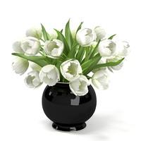 WHITE Tulips Bouquet In The Vase ELEGANT ACCESSORY HOME DECOR ENERANCE