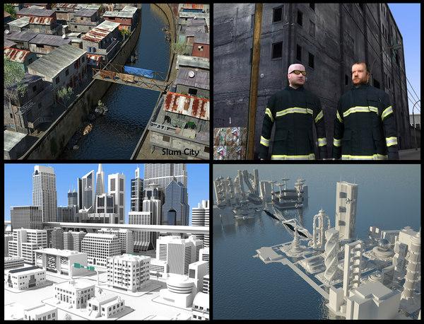 3d pack 4 cities buildings skyscrapers