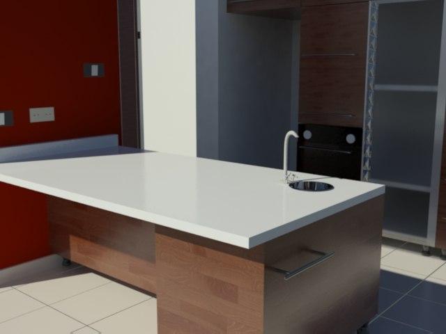 modern kitchen 3ds