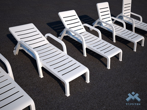 3d plastic poolside chaise lounge
