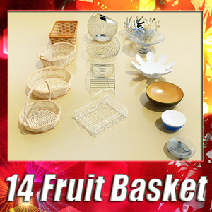 14 fruit basket bowls 3d model