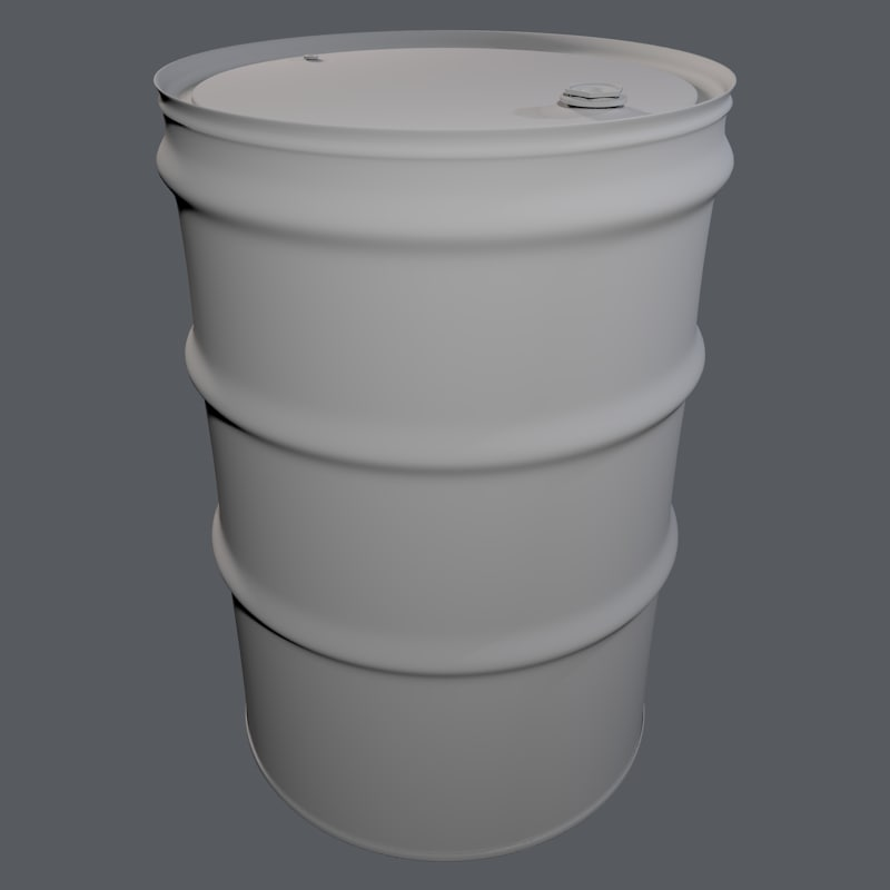 3ds max 55-gallon drum barrel