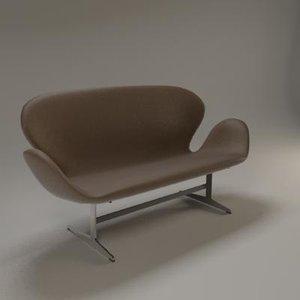 3d arne jacobsen sofa model