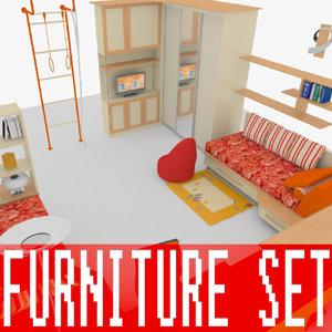 3d model kid s bedroom furniture