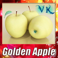 3d golden apple resolution model