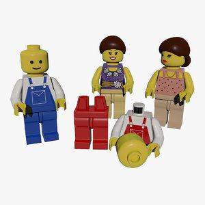 classic lego figures 3d max