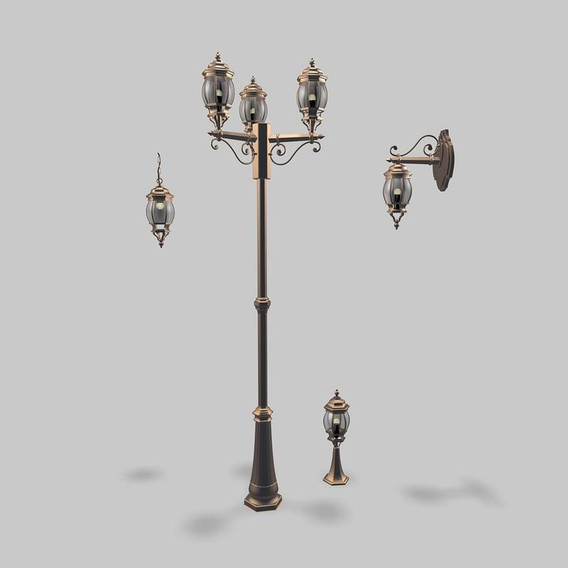 3d outdoor lights lamp