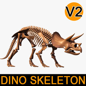 dino skeleton triceratops separate 3d 3ds