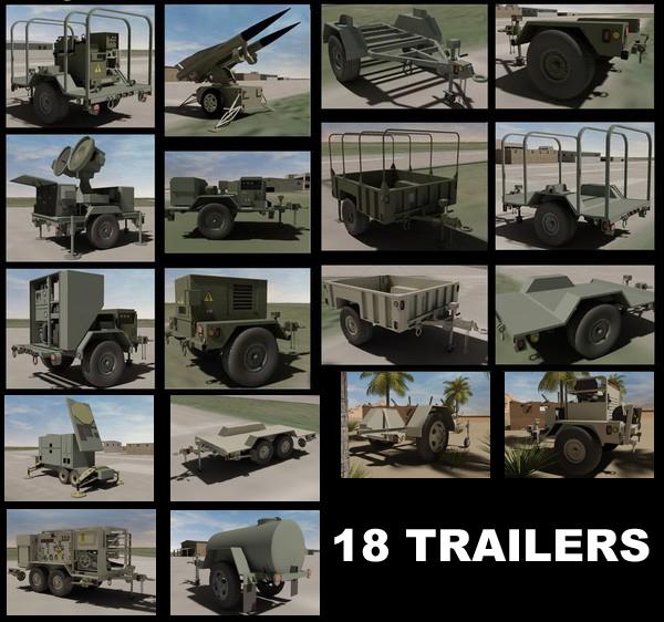 3d model 18 military trailer