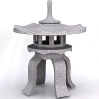 3d model japanese stone lantern