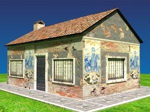 3d model portuguese house traditional tiles
