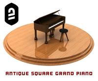 c4d antique square grand piano