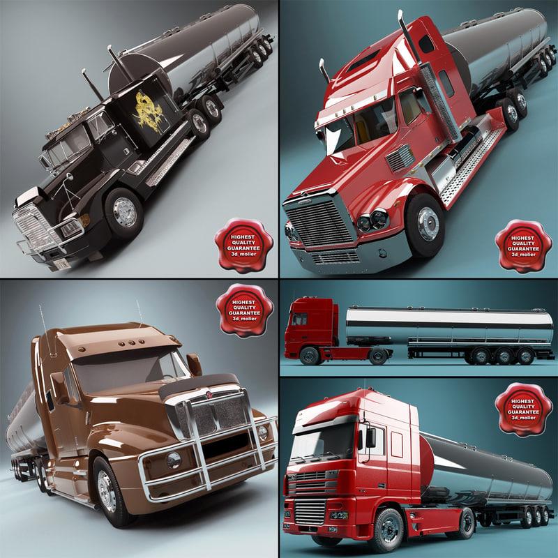 3d tank trailers truck model