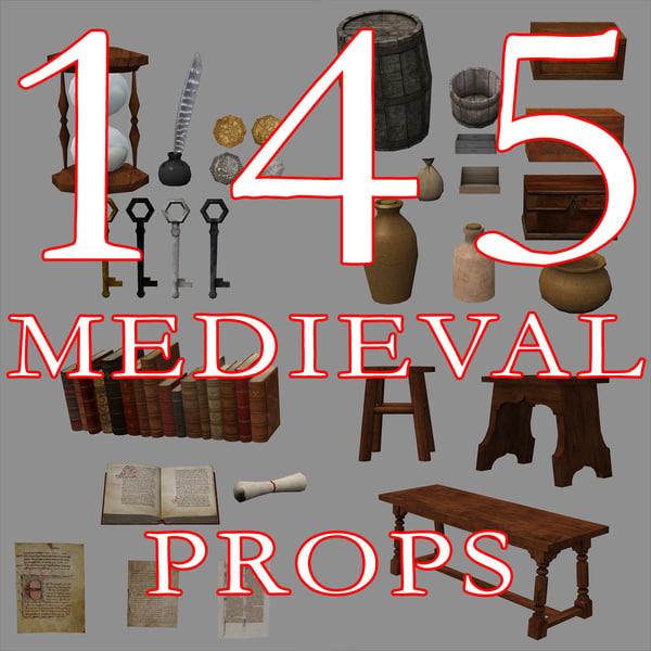 145 medieval props 3d model