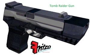 3d tomb raider gun pistol model