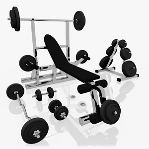 3d realistic exercise machine bench press