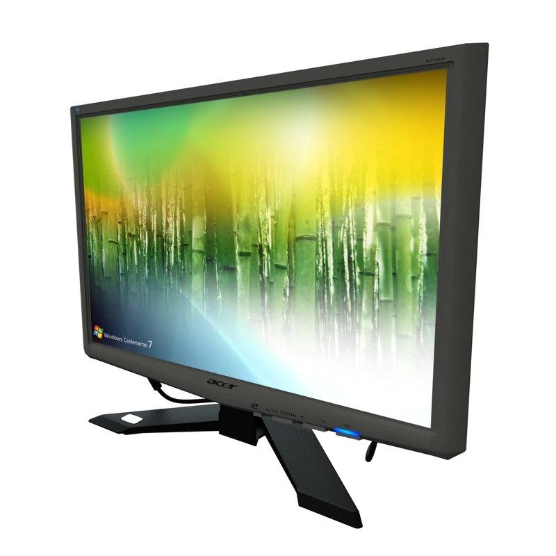 19 widescreen tft monitor 3d model