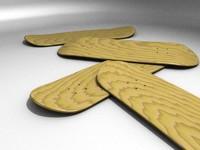 wood skateboard deck 3d blend