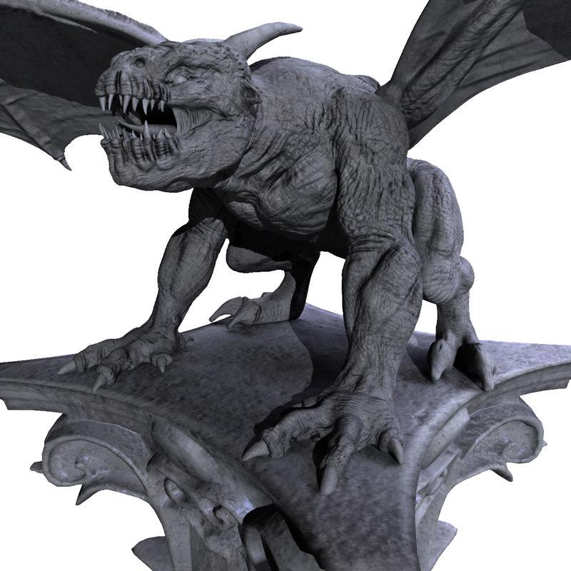 gargoyle statue monster 3d obj