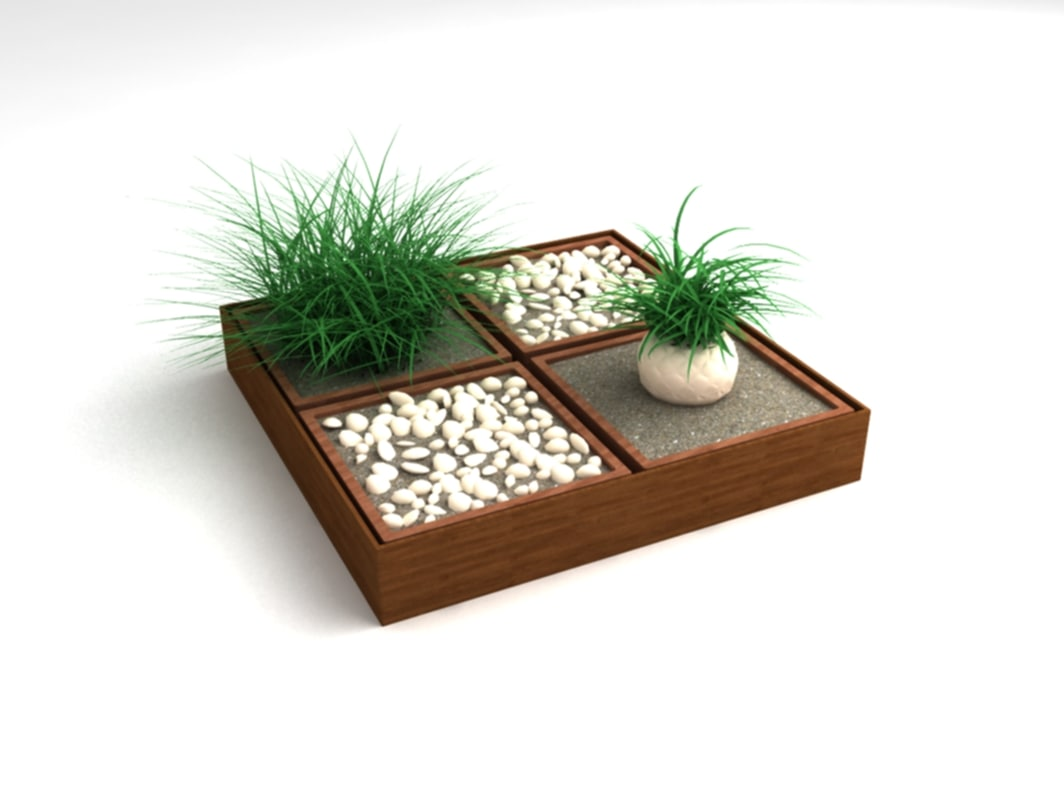 decoration pot plants obj