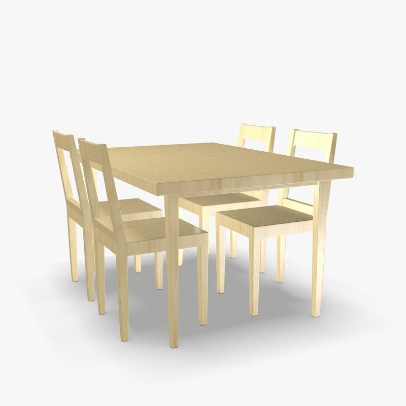 3d scandinavian wooden chair table