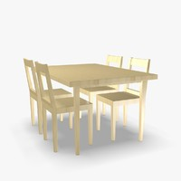 3d scandinavian wooden chair table