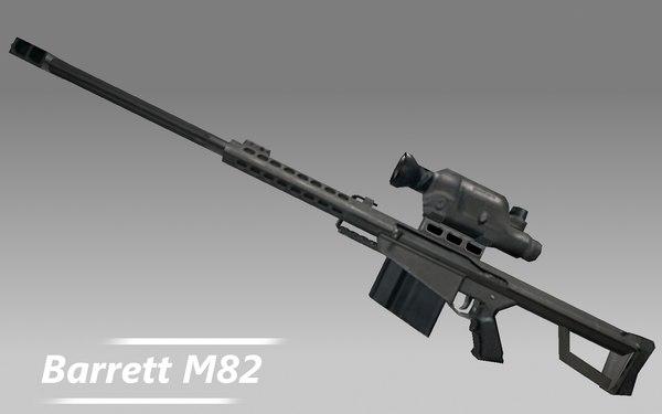 barrett m82 rifle gun 3d model