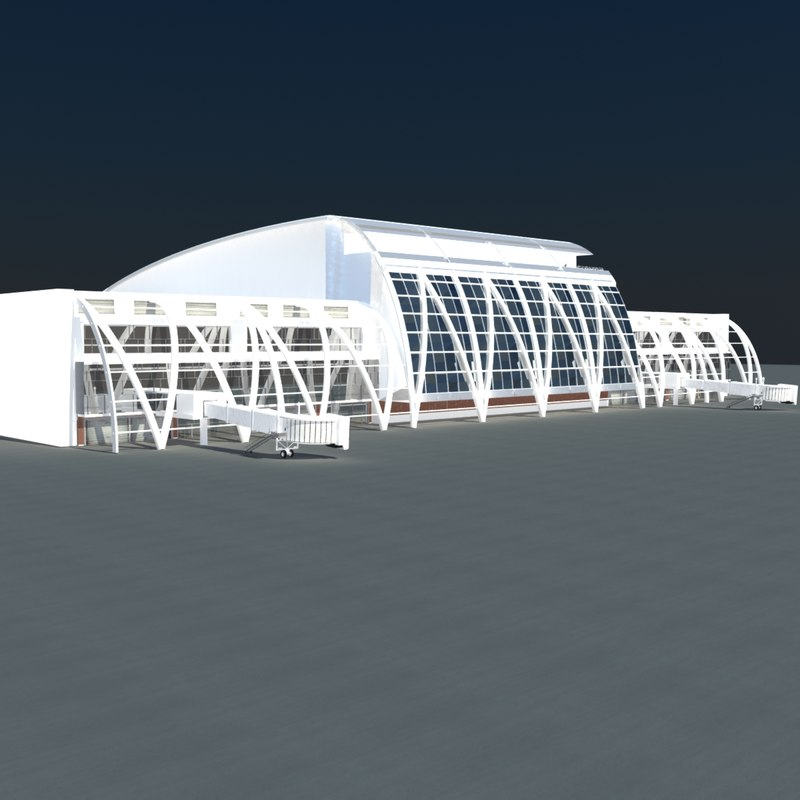 terminal building airport 3d model